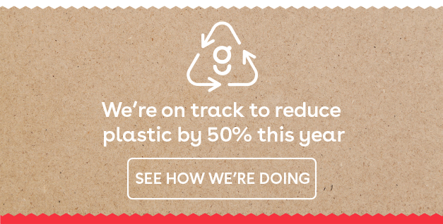 We're on track to reduce plastic by 50% this year